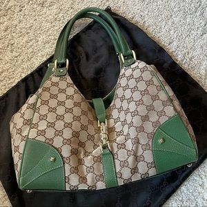 Authentic Gucci Bardot GG with Green Leather